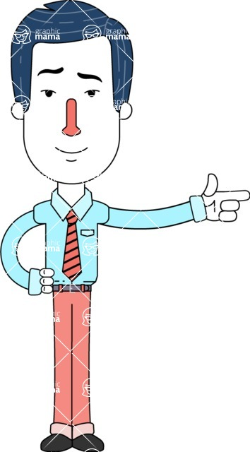 Flat Linear Employee Vector Character Design AKA Steve the Office Guy - Point