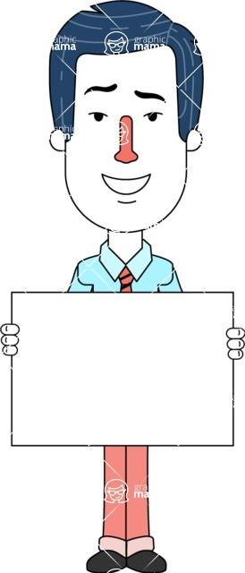 Flat Linear Employee Vector Character Design AKA Steve the Office Guy - Sign 5