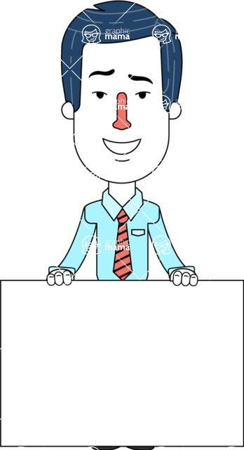 Flat Linear Employee Vector Character Design AKA Steve the Office Guy - Sign 6