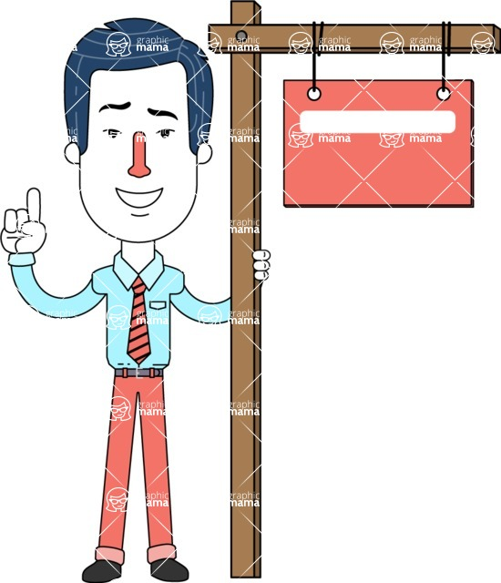 Flat Linear Employee Vector Character Design AKA Steve the Office Guy - Sign 9