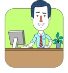 Flat Linear Employee Vector Character Design AKA Steve the Office Guy - Shape 2