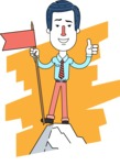 Flat Linear Employee Vector Character Design AKA Steve the Office Guy - Shape 4
