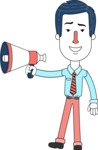 Flat Linear Employee Vector Character Design AKA Steve the Office Guy - Loudspeaker