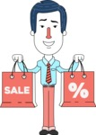 Flat Linear Employee Vector Character Design AKA Steve the Office Guy - Sale2