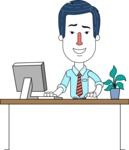 Flat Linear Employee Vector Character Design AKA Steve the Office Guy - Laptop 1