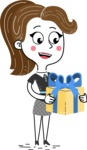Hand Drawn Girl Cartoon Vector Character AKA Cynthia - Gift