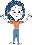 Flat Hand Drawn Casual Girl Vector Character AKA Cassidy - Sad