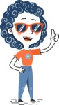 Flat Hand Drawn Casual Girl Vector Character AKA Cassidy - Sunglasses