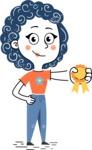 Flat Hand Drawn Casual Girl Vector Character AKA Cassidy - Ribbon
