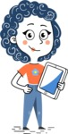 Flat Hand Drawn Casual Girl Vector Character AKA Cassidy - iPad3