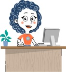 Flat Hand Drawn Casual Girl Vector Character AKA Cassidy - Laptop 1