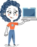 Flat Hand Drawn Casual Girl Vector Character AKA Cassidy - Laptop 2