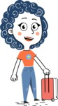 Flat Hand Drawn Casual Girl Vector Character AKA Cassidy - Travel 1