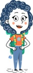 Flat Hand Drawn Casual Girl Vector Character AKA Cassidy - Travel 2