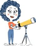 Flat Hand Drawn Casual Girl Vector Character AKA Cassidy - Telescope