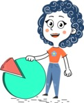 Flat Hand Drawn Casual Girl Vector Character AKA Cassidy - Chart