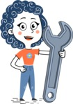 Flat Hand Drawn Casual Girl Vector Character AKA Cassidy - Repair