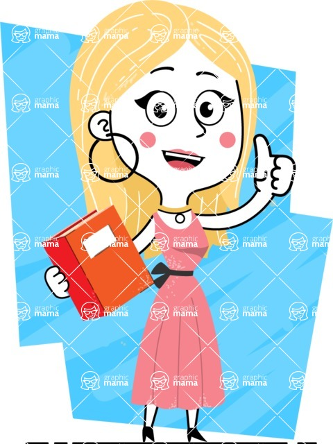 Flat Hand Drawn Girl Cartoon Vector Character AKA Maura - Shape 6