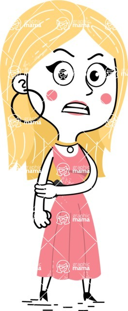 Flat Hand Drawn Girl Cartoon Vector Character AKA Maura - Angry