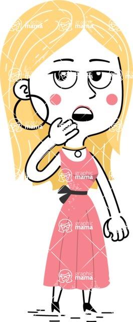 Flat Hand Drawn Girl Cartoon Vector Character AKA Maura - Bored