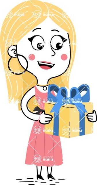 Flat Hand Drawn Girl Cartoon Vector Character AKA Maura - Gift
