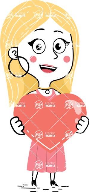 Flat Hand Drawn Girl Cartoon Vector Character AKA Maura - Love