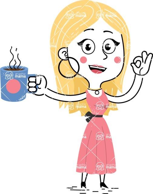 Flat Hand Drawn Girl Cartoon Vector Character AKA Maura - Coffee