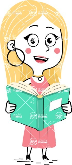 Flat Hand Drawn Girl Cartoon Vector Character AKA Maura - Book 1