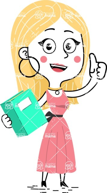 Flat Hand Drawn Girl Cartoon Vector Character AKA Maura - Book 3