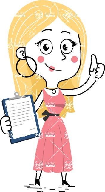 Flat Hand Drawn Girl Cartoon Vector Character AKA Maura - Notepad 1