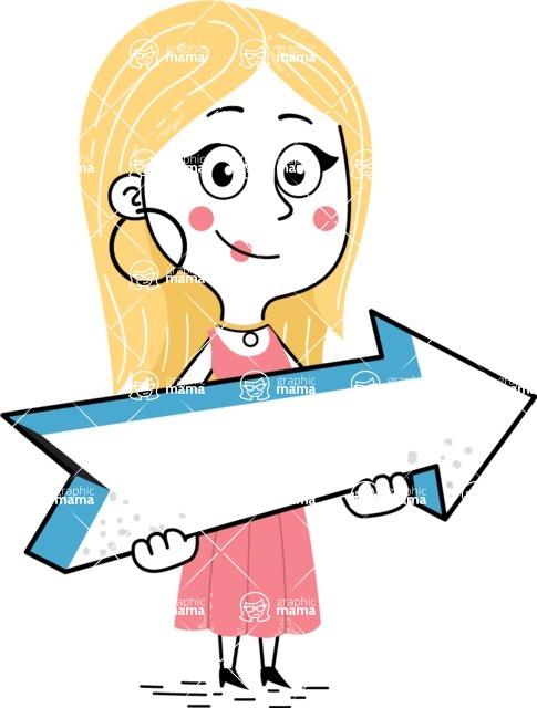 Flat Hand Drawn Girl Cartoon Vector Character AKA Maura - Pointer 2