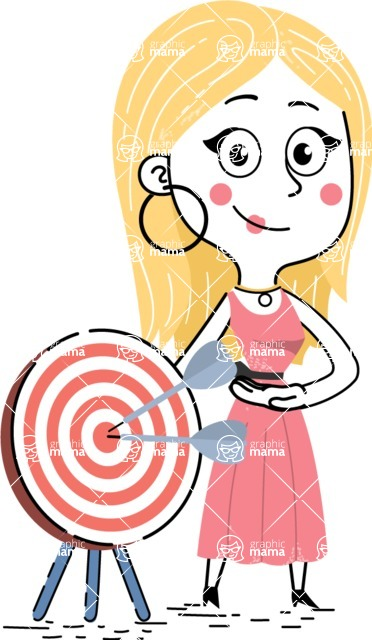 Flat Hand Drawn Girl Cartoon Vector Character AKA Maura - Target