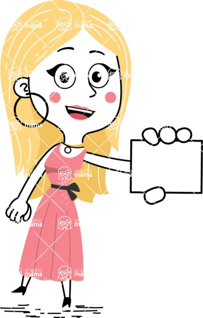 Flat Hand Drawn Girl Cartoon Vector Character AKA Maura - Sign 1