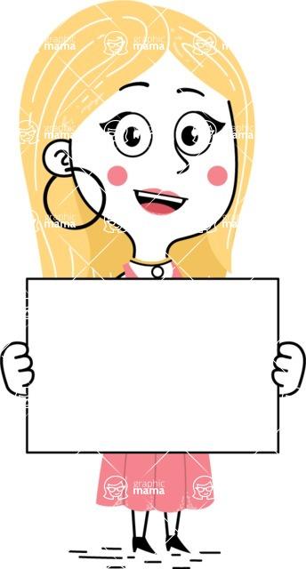 Flat Hand Drawn Girl Cartoon Vector Character AKA Maura - Sign 5