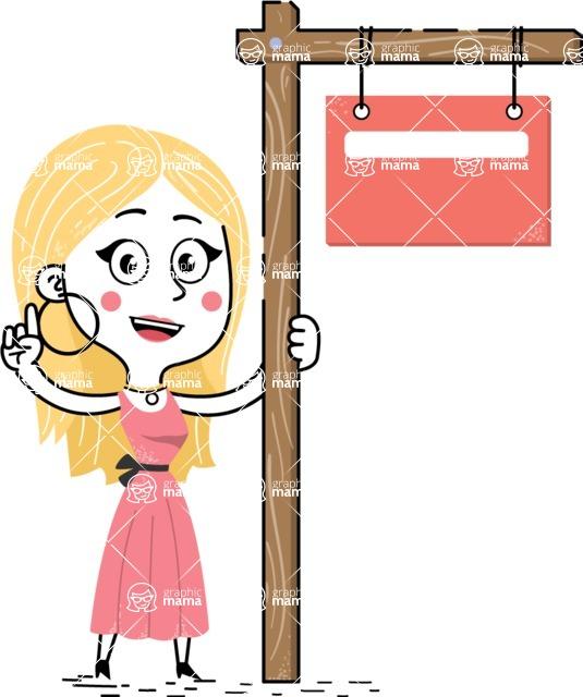 Flat Hand Drawn Girl Cartoon Vector Character AKA Maura - Sign 9