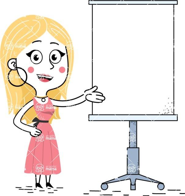 Flat Hand Drawn Girl Cartoon Vector Character AKA Maura - Presentation 1