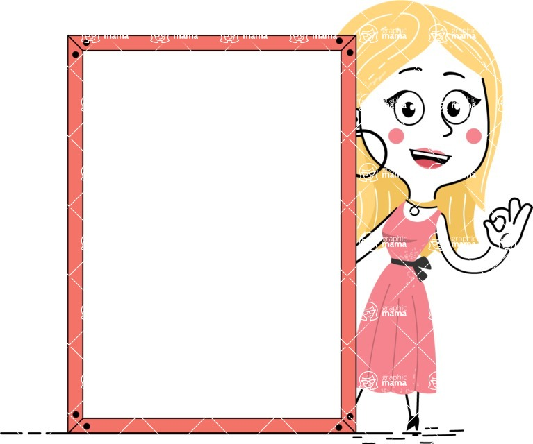 Flat Hand Drawn Girl Cartoon Vector Character AKA Maura - Presentation 4