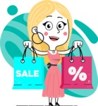 Flat Hand Drawn Girl Cartoon Vector Character AKA Maura - Shape 12