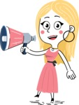 Flat Hand Drawn Girl Cartoon Vector Character AKA Maura - Loudspeaker