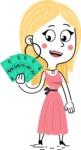 Flat Hand Drawn Girl Cartoon Vector Character AKA Maura - Show me the Money