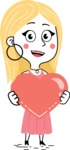 Flat Hand Drawn Girl Cartoon Vector Character AKA Maura - Love
