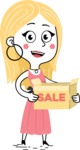 Flat Hand Drawn Girl Cartoon Vector Character AKA Maura - Sale