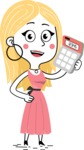 Flat Hand Drawn Girl Cartoon Vector Character AKA Maura - Calculator
