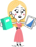 Flat Hand Drawn Girl Cartoon Vector Character AKA Maura - Book and iPad