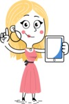 Flat Hand Drawn Girl Cartoon Vector Character AKA Maura - iPad 1