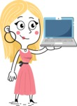 Flat Hand Drawn Girl Cartoon Vector Character AKA Maura - Laptop 2