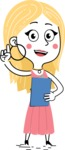 Flat Hand Drawn Girl Cartoon Vector Character AKA Maura - Notepad 2