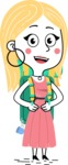 Flat Hand Drawn Girl Cartoon Vector Character AKA Maura - Travel 2