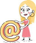 Flat Hand Drawn Girl Cartoon Vector Character AKA Maura - Email
