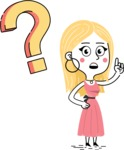 Flat Hand Drawn Girl Cartoon Vector Character AKA Maura - Question